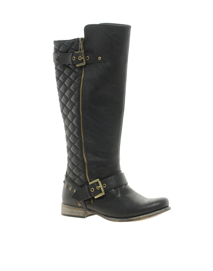 river island quilted biker boots in black lyst. Black Bedroom Furniture Sets. Home Design Ideas