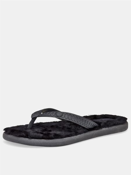 ugg fluffie flip flop in black lyst. Black Bedroom Furniture Sets. Home Design Ideas
