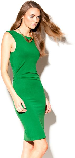 Vince Camuto Fitted Geometric Dress In Green Rich Green