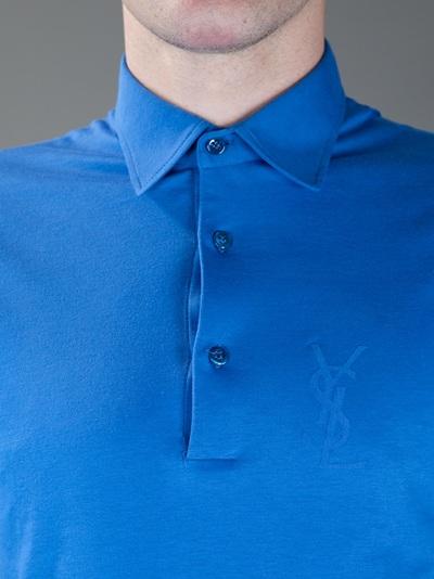 Saint laurent logo polo shirt in blue for men lyst for Yves saint laurent logo shirt