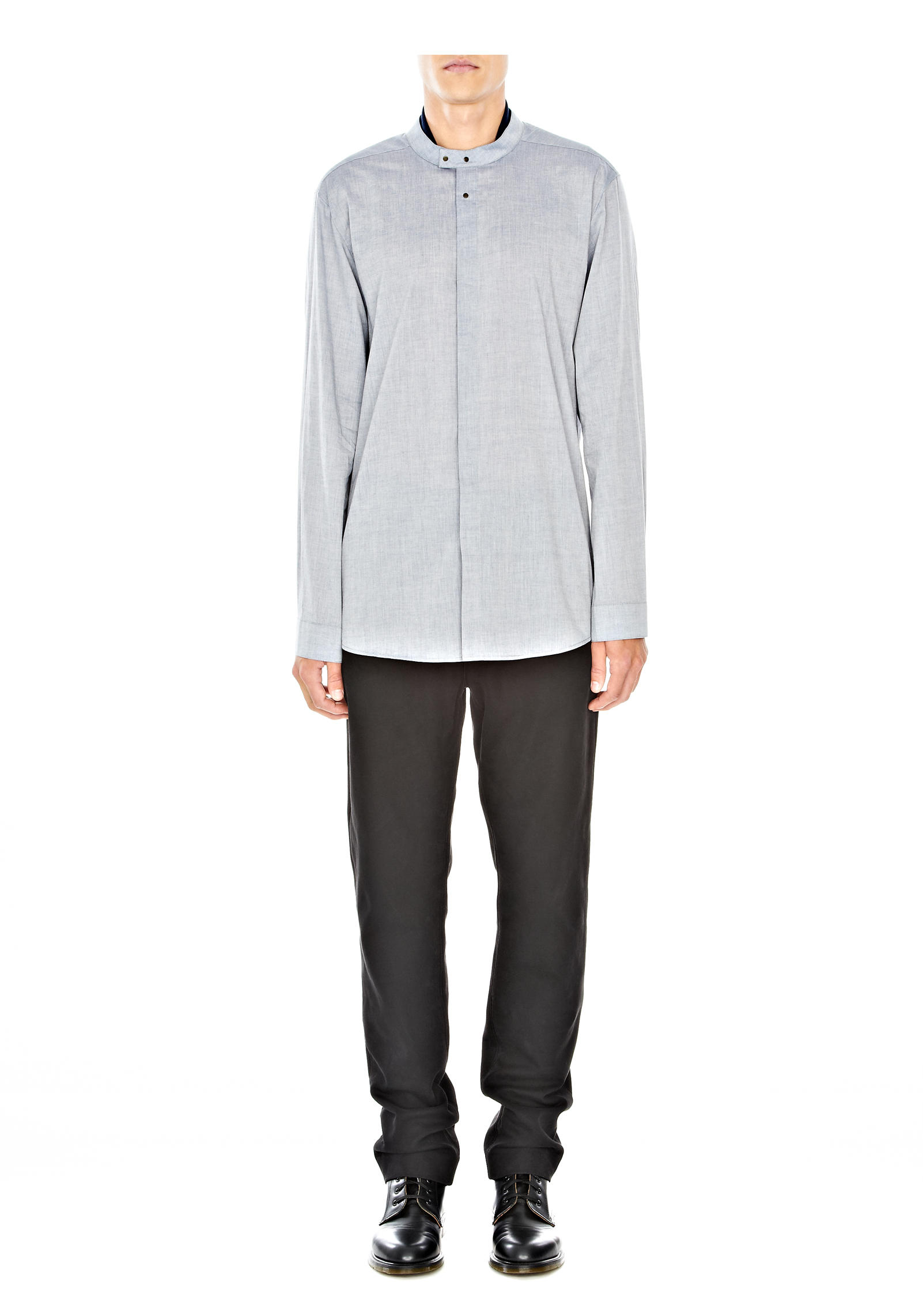 Alexander wang double collar shirt with snap closure in for Mens shirts with snaps instead of buttons