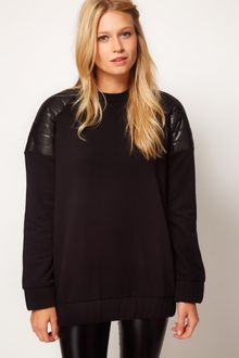 ASOS Collection Asos Sweatshirt with Padded Shoulder Detail - Lyst