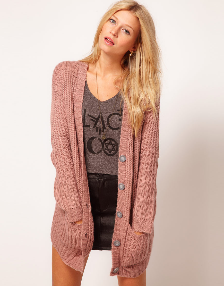 Lyst - ASOS Collection Asos Chunky Rib Cardigan in Pastels in Pink c127f33a1