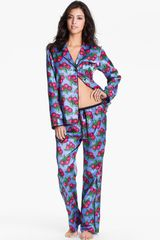 Betsey Johnson Cuddly Back Satin Pajama Set - Lyst