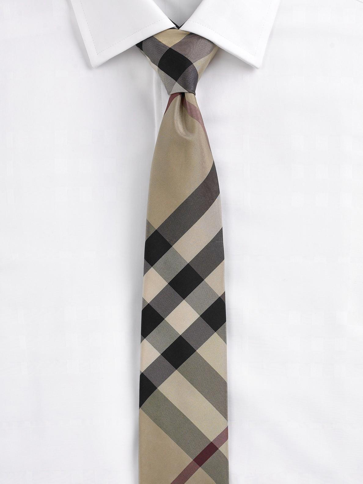 Burberry Modern Cut Check Silk Tie In Black For Men Beat