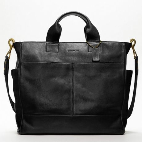 Coach Bleecker Legacy Leather Utility Tote in Black for Men