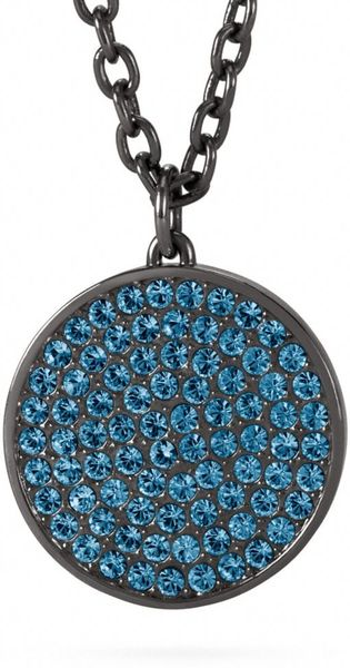 Coach Large Pave Disc Pendant Necklace In Blue Black Navy