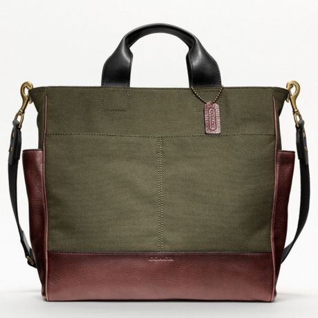 Coach Bleecker Legacy Canvas Utility Tote in Khaki for Men (burgundy/tan)