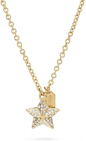 Coach Pave Pyramid Star Necklace In Gold Gold Gold Lyst