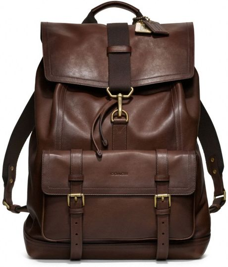 coach bleecker backpack in leather in brown for men  mahogany