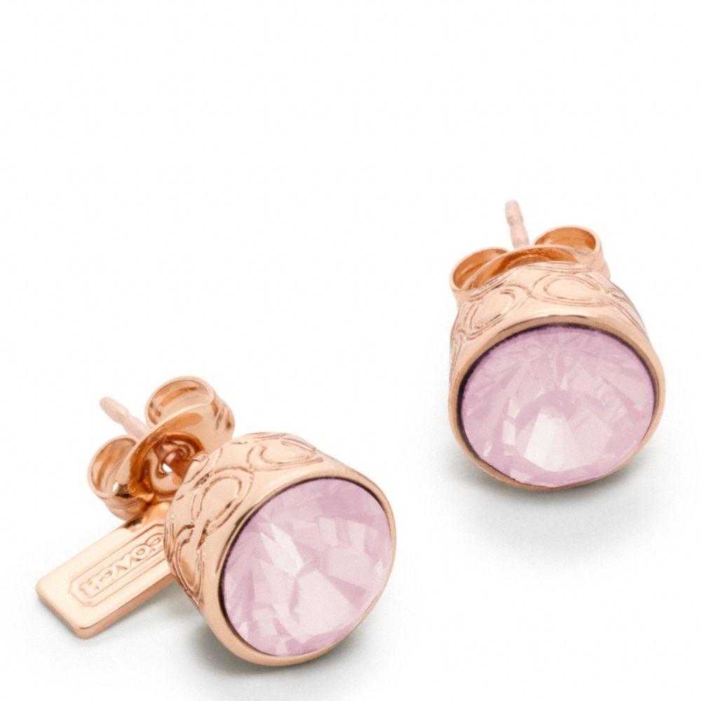 Lyst - Coach Stone Stud Earrings in Pink