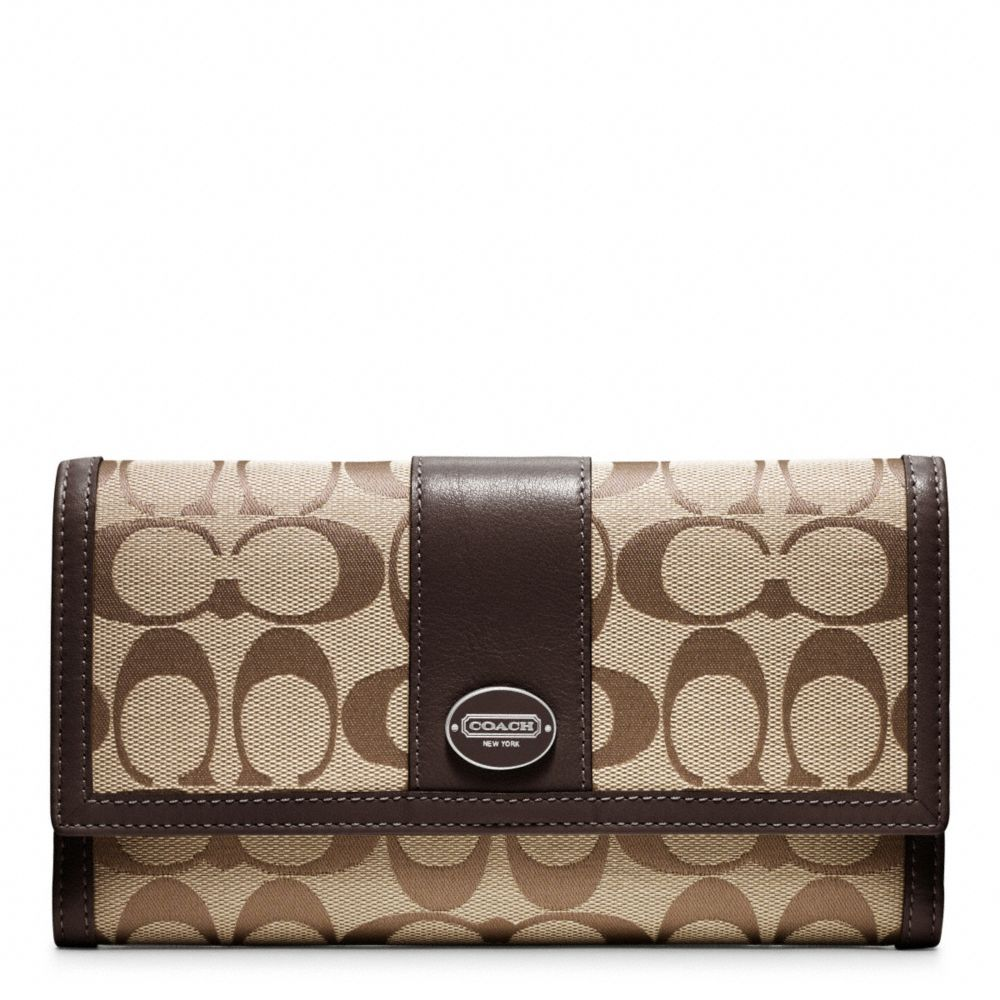 Lyst Coach Legacy Signature Checkbook Wallet In Brown