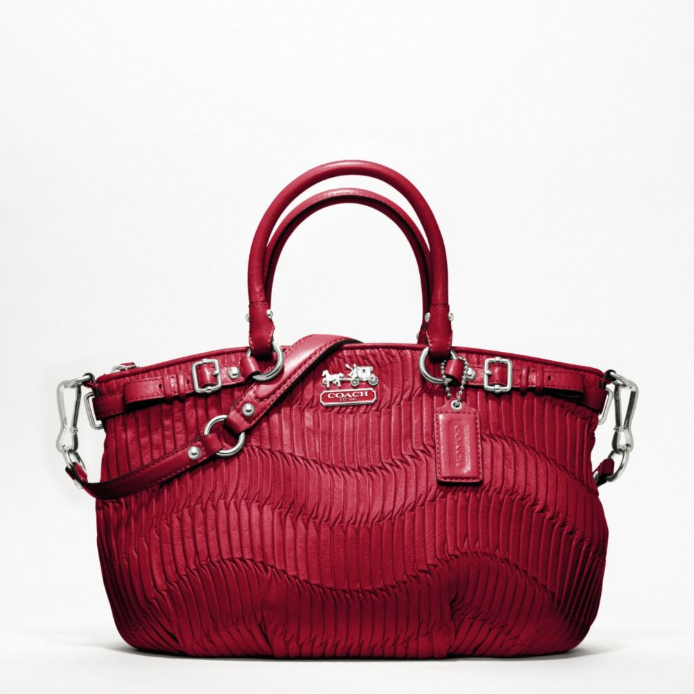 8a2360472e Lyst - COACH Madison Gathered Leather Sophia Satchel in Red