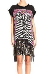 Just Cavalli Short Sleeve Silk Print Tunic Dress - Lyst