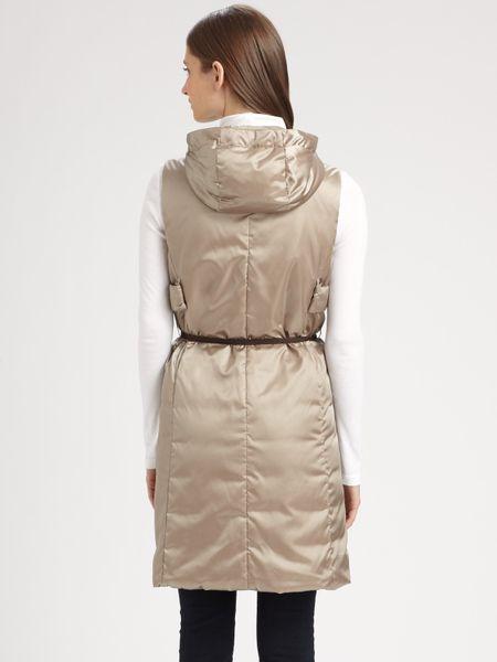 max mara gilet long vest in gray beige lyst. Black Bedroom Furniture Sets. Home Design Ideas