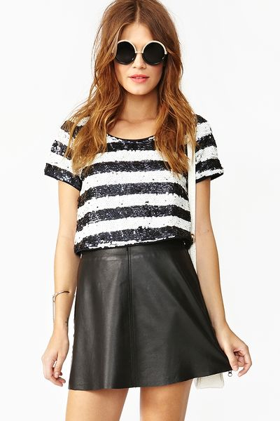 Nasty Gal Sequin Stripe Crop Top in Blue (midnight)