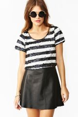 Nasty Gal Sequin Stripe Crop Top in Blue (midnight) - Lyst