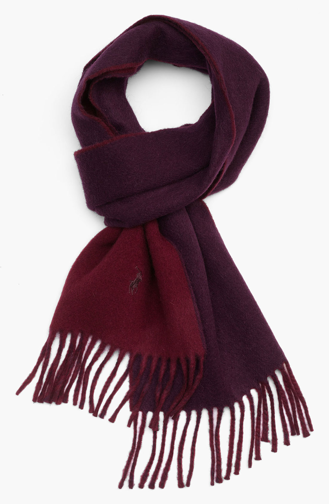polo ralph classic reversible scarf in purple for