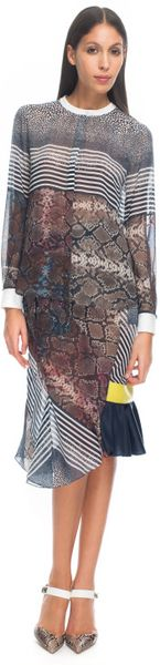 Preen By Thorton Bregazzi  Marlow Blouse in Multicolor (blue/natural multi) - Lyst