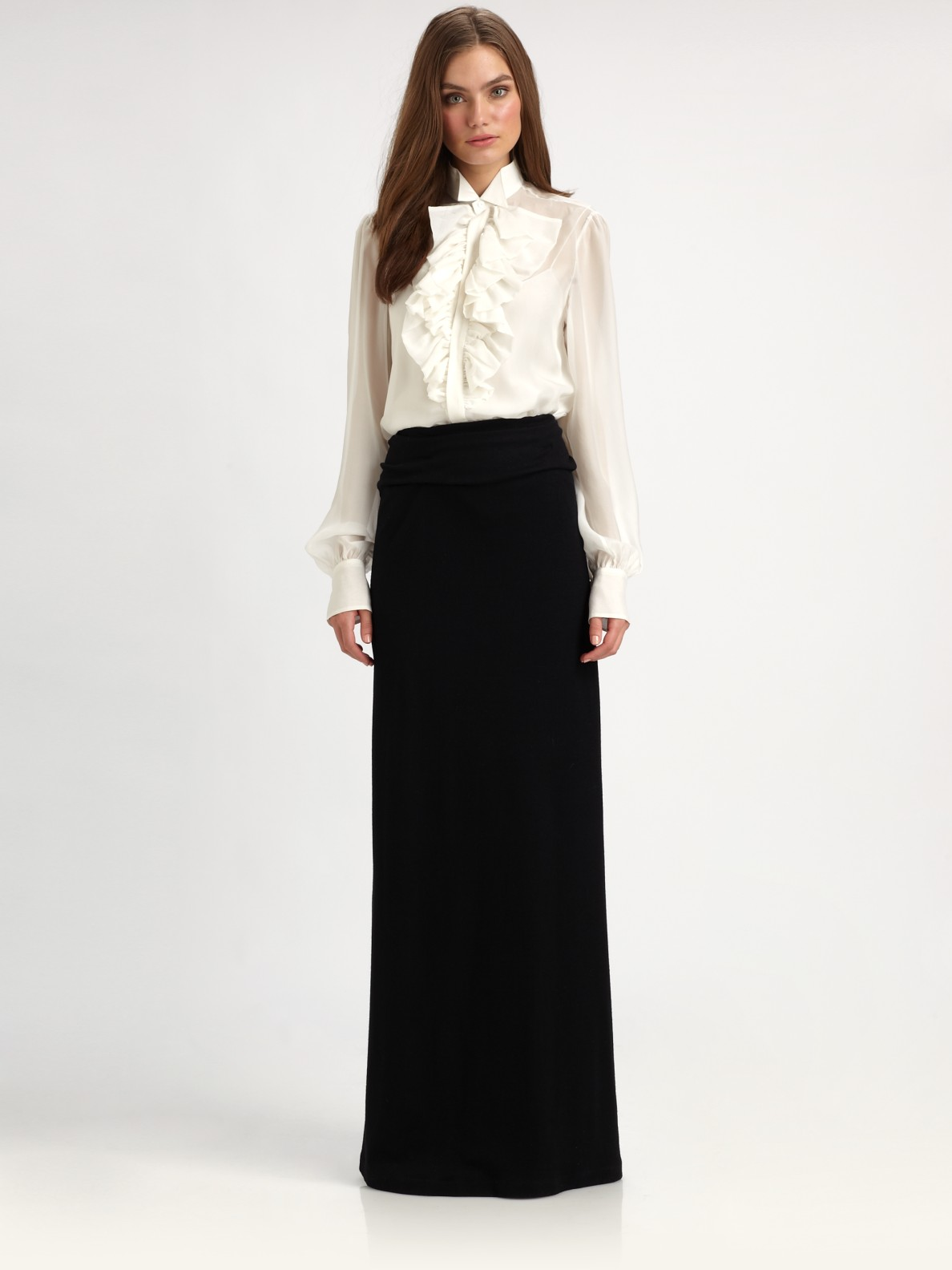 Ralph lauren blue label Morgan Wool Knit Maxi Skirt in Black | Lyst