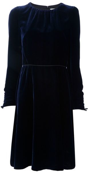 Valentino Velvet Dress in Purple - Lyst