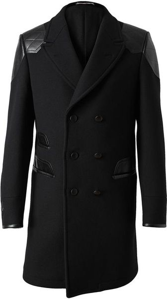 Saint Laurent Leather And Wool Coat In Gray For Men Black
