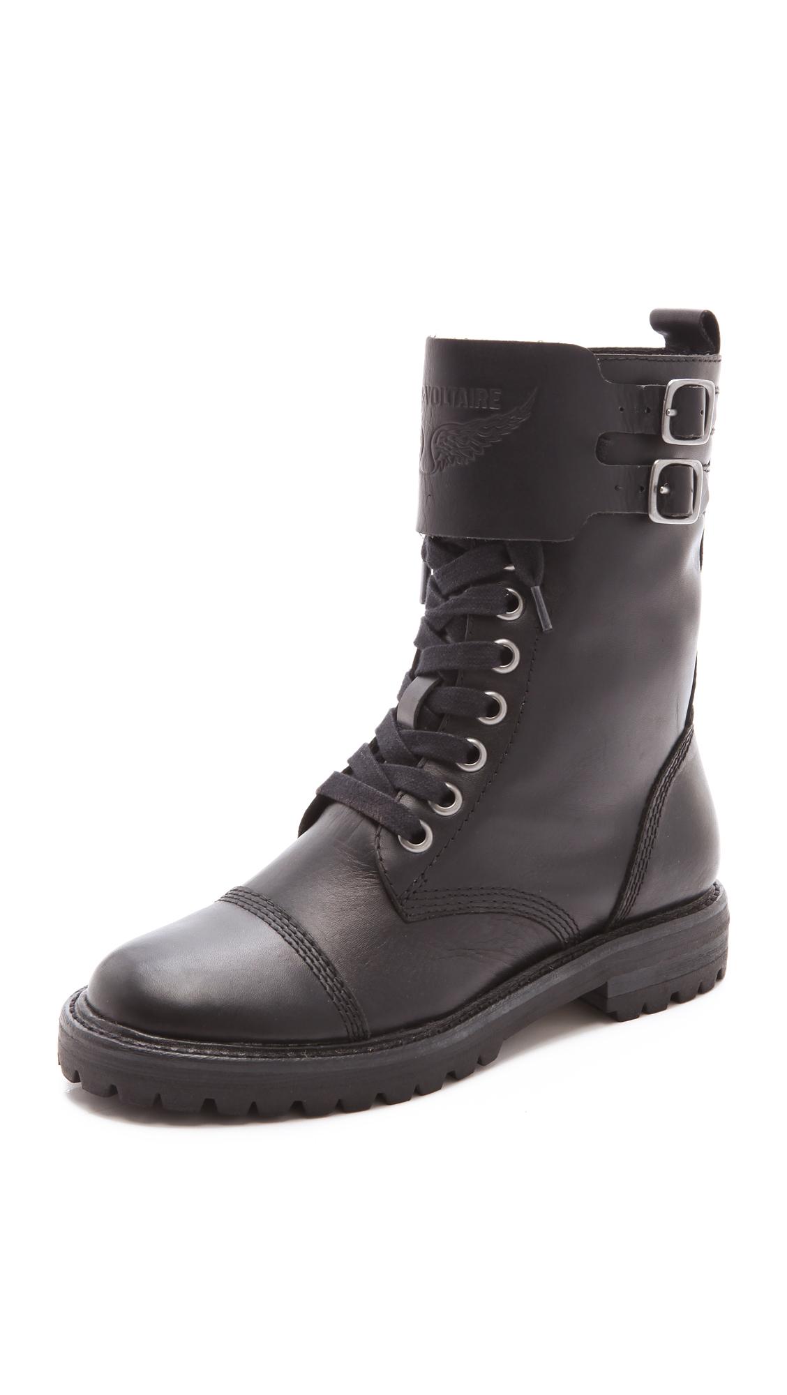 Lyst Zadig Amp Voltaire Joe Combat Boots In Black