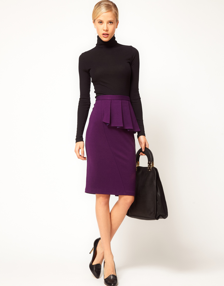 Purple Pencil Skirt - Skirts