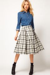 ASOS Collection Asos Check Midi Skirt - Lyst