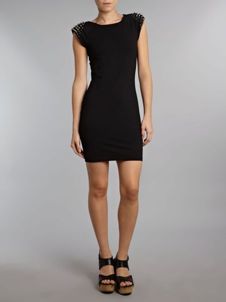 Ax Paris Studded Bodycon Dress In Black Lyst