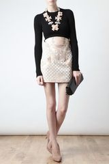 Balmain Velvet and Leather Miniskirt in Beige (pink) - Lyst