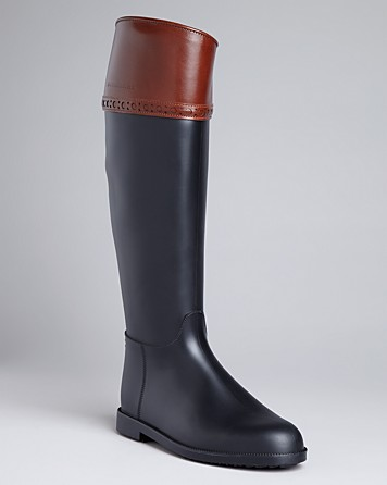 Burberry Riding Rain Boots Hillmore Flat in Brown | Lyst