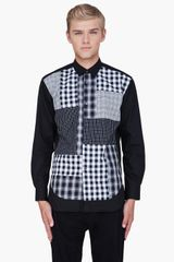 Comme Des Garçons Black Checkered Front Shirt in Black for Men - Lyst