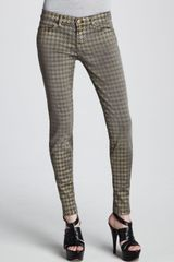 Current/Elliott The Ankle Skinny Foil Houndstooth Jeans - Lyst