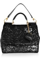 Dolce & Gabbana Miss Sicily Sequined Leather Shoulder Bag