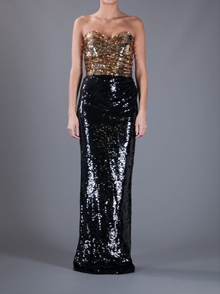Dolce Amp Gabbana Sequin Strapless Dress In Gold Black Lyst