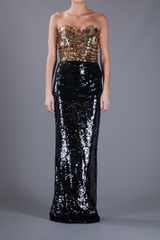 Dolce & Gabbana Sequin Strapless Dress in Gold (black) - Lyst