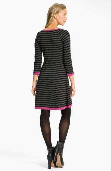 Eliza J Stripe Contrast Trim Sweater Dress In Gray Grey