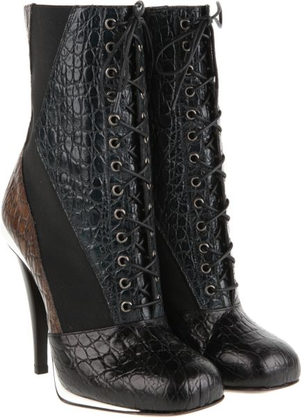 Fendi Victorian Laceup Boots In Threetone