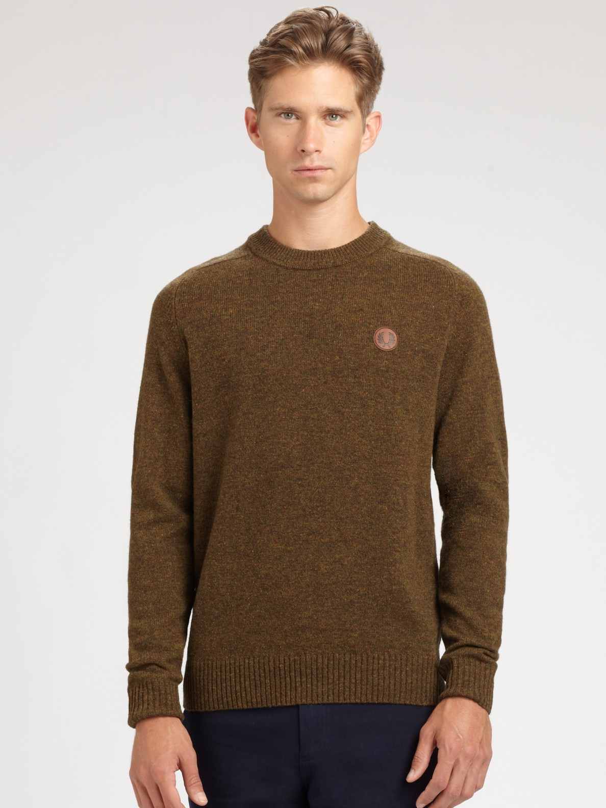 fred perry tweed crewneck sweater in brown for men lyst. Black Bedroom Furniture Sets. Home Design Ideas