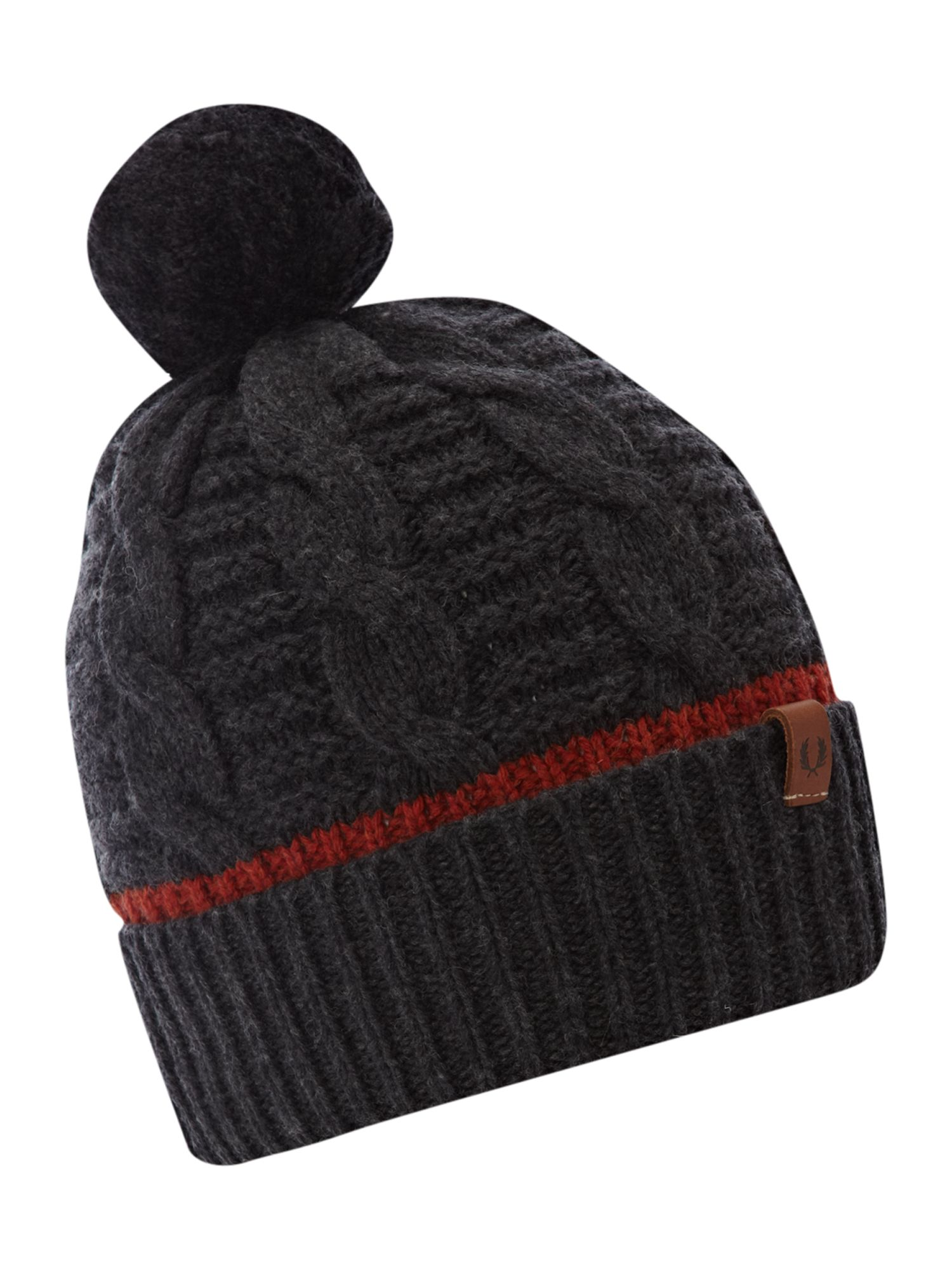 Knitting Chunky Hat : Fred perry chunky knit beanie hat in gray for men grey