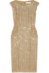 Michael by Michael Kors Sequined Metallic Bouclé Dress - Lyst