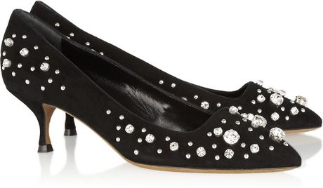 Moschino Cheap & Chic Crystal Embellished Suede Pumps in Black - Lyst