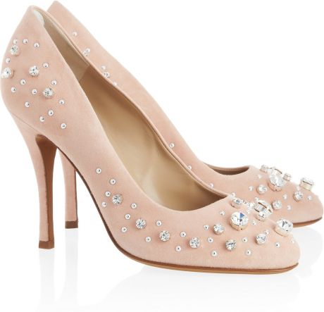 Moschino Cheap & Chic Crystalembellished Suede Pumps in Pink (blush) - Lyst