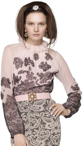 Oscar De La Renta Chantilly Lace Blouse in Pink (rose) - Lyst