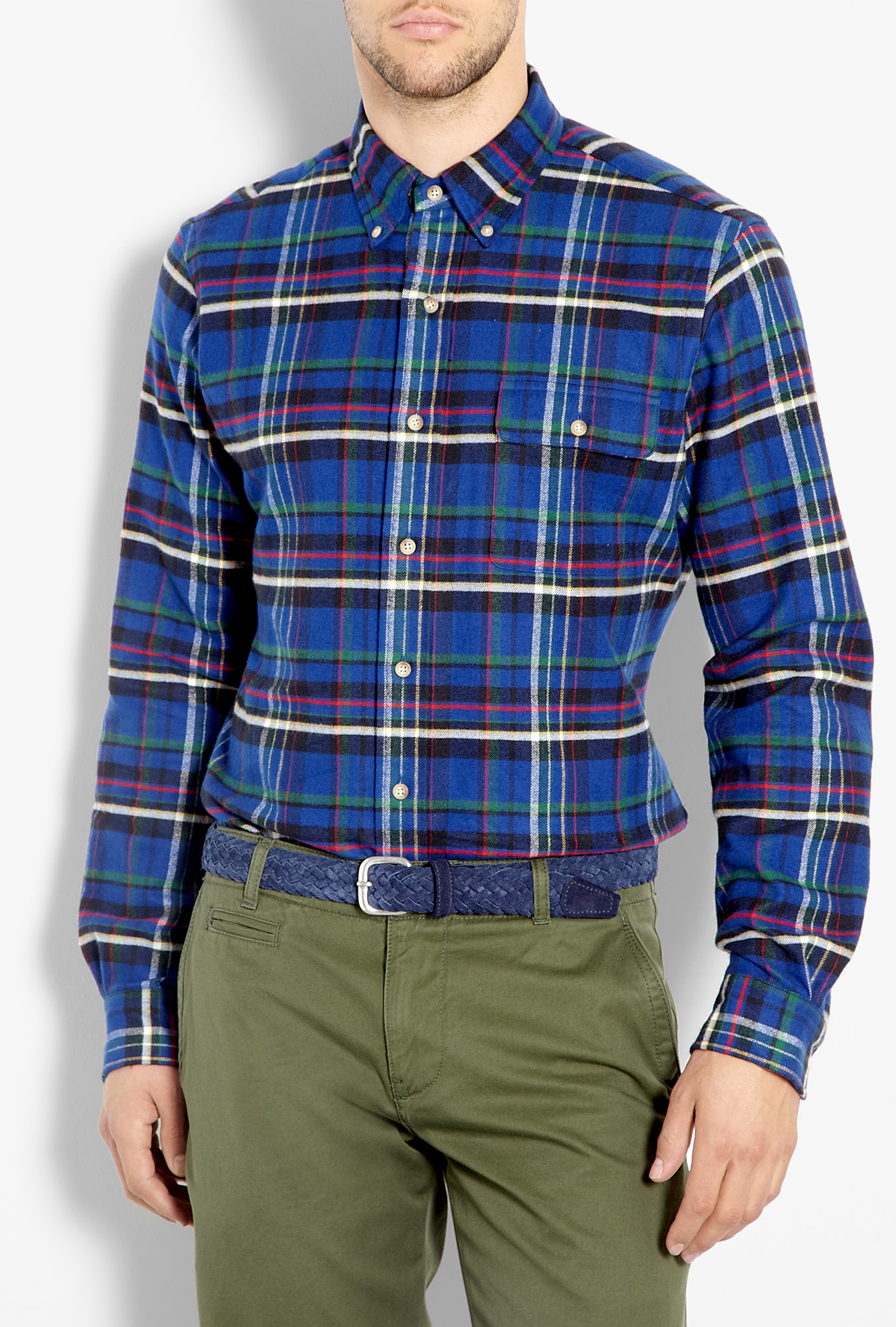 polo ralph lauren royal blue plaid flannel custom shirt in