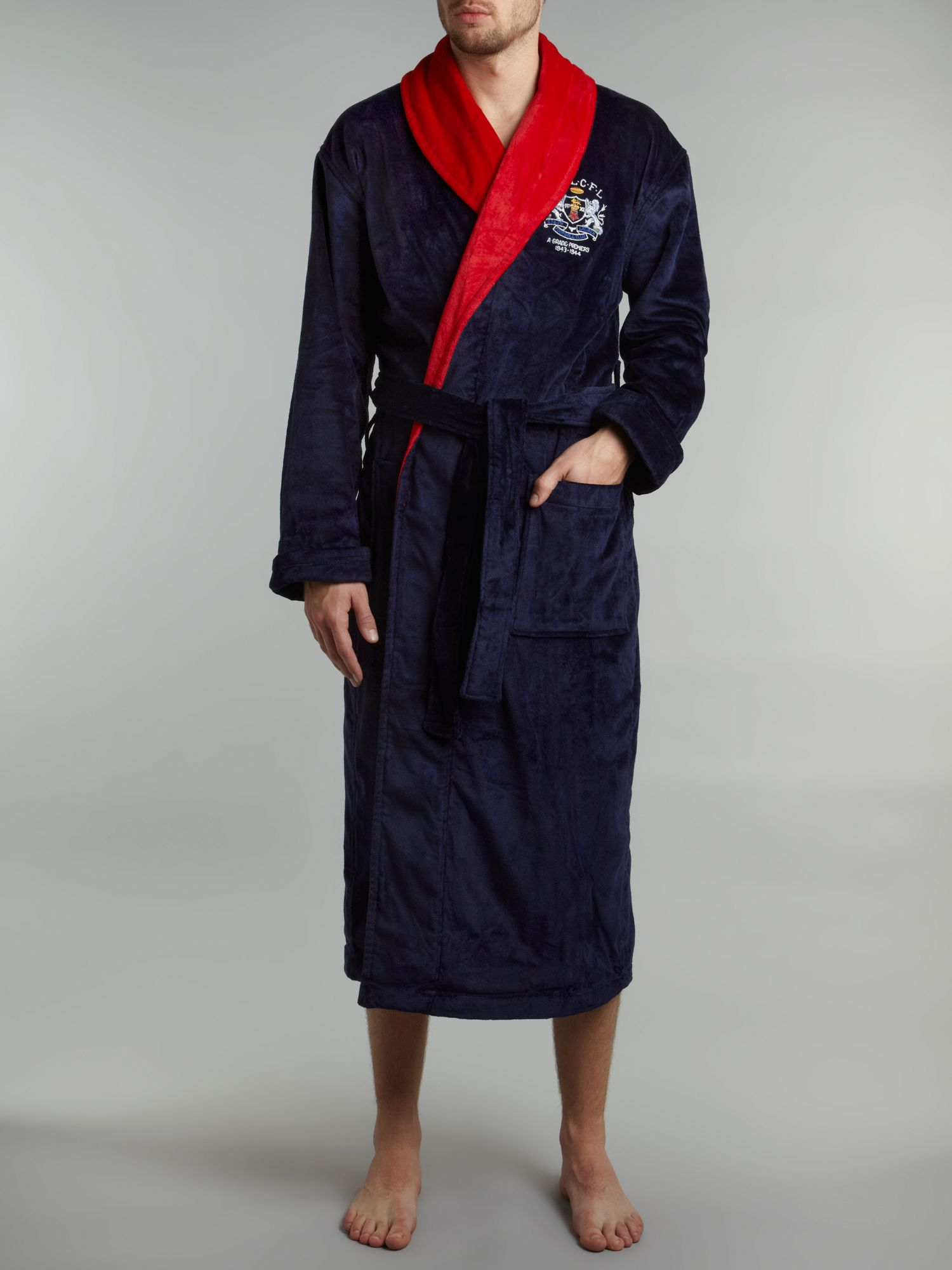 polo ralph lauren contrast collar robe in blue for men lyst. Black Bedroom Furniture Sets. Home Design Ideas