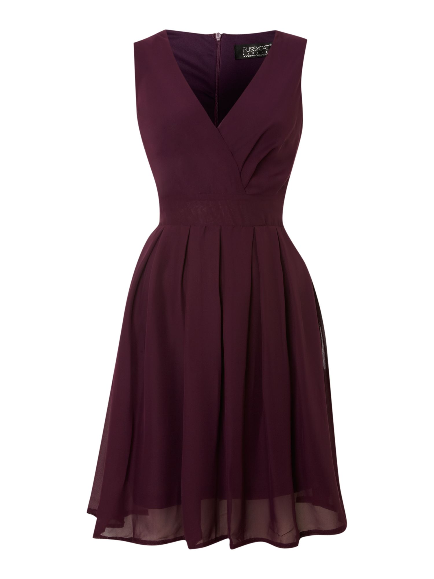 Pussycat Chiffon Vneck Wrap Dress In Purple Lyst