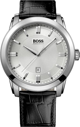 Boss Black Round Leather Strap Watch - Lyst