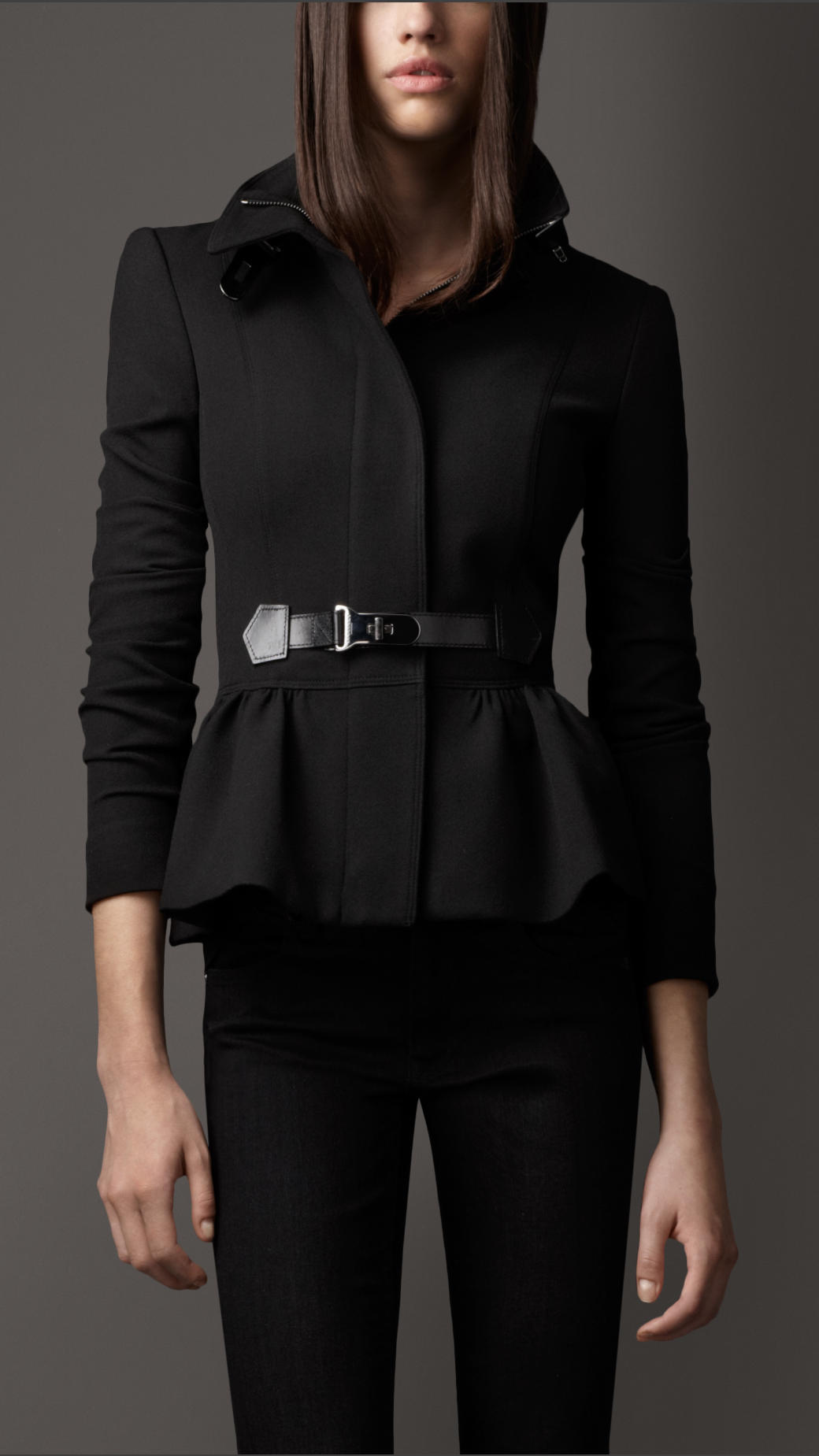 Lyst Burberry Bridle Leather Detail Peplum Jacket In Black